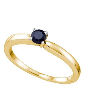 10kt Yellow Gold Womens Round Black Color Enhanced Diamond Solitaire Bridal Wedding Engagement Ring 1/4 Cttw