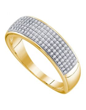 10kt Yellow Gold Unisex Round Diamond Wedding Band Ring 1/3 Cttw