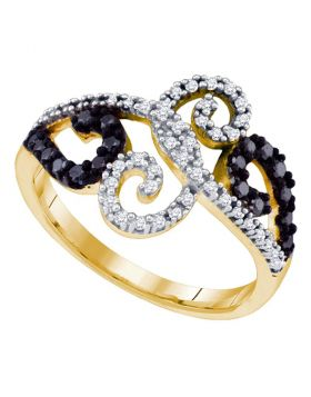 10kt Yellow Gold Womens Round Black Color Enhanced Diamond Curl Ring 1/3 Cttw