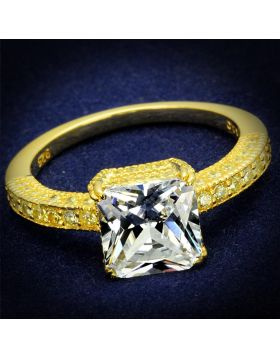 TS539-5 - 925 Sterling Silver Gold Ring AAA Grade CZ Clear