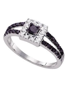 10kt White Gold Womens Princess Black Color Enhanced Diamond Princess Bridal Wedding Engagement Ring 1/2 Cttw
