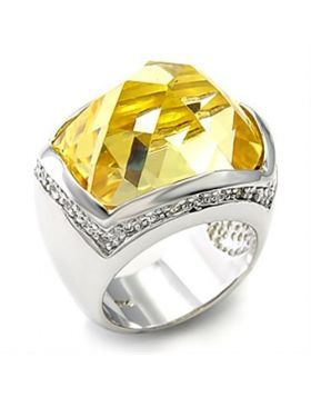 7X154-5 - 925 Sterling Silver Rhodium Ring AAA Grade CZ Citrine Yellow