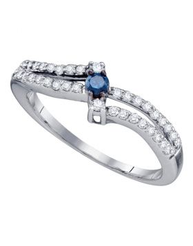 Sterling Silver Womens Round Blue Color Enhanced Diamond Solitaire Bridal Wedding Engagement Ring 1/3 Cttw