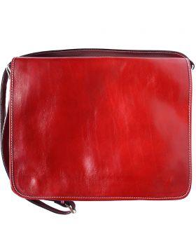 Leather Business shoulder bag - Red