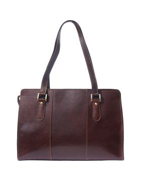 Verdiana leather shoulder bag - Dark Brown
