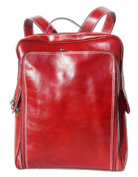 Flat hard leather  backpack - Red