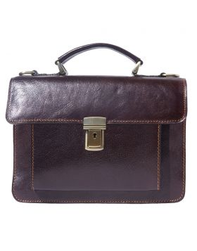 Lucio Mini leather briefcase - Bordeaux