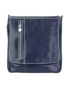 Messenger Amico with genuine leather - Blue