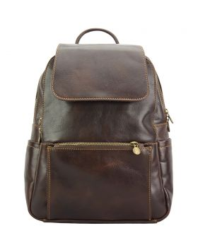 Brittany Backpack in cow leather - Dark Brown