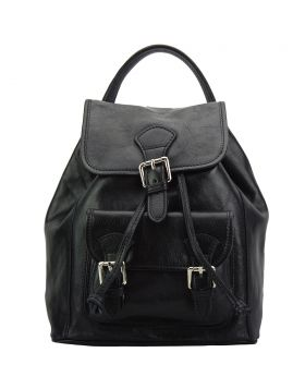 Backpack Tuscany in calfskin leather - Black
