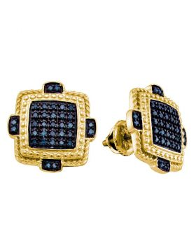Yellow-tone Sterling Silver Unisex Round Blue Color Enhanced Diamond Square Cluster Earrings 3/8 Cttw