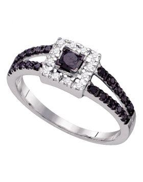14kt White Gold Womens Princess Black Color Enhanced Diamond Halo Bridal Wedding Engagement Ring 1/2 Cttw
