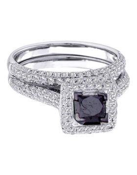 14kt White Gold Womens  Black Color Enhanced Diamond Bridal Wedding Engagement Ring Band Set 1-1/4 Cttw
