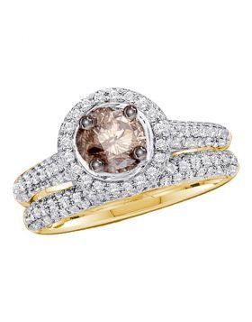 14kt Yellow Gold Womens Round Brown Diamond Bridal Wedding Engagement Set 1-1/4 Cttw