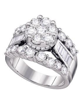 14kt White Gold Womens Round Diamond Cluster Bridal Wedding Engagement Ring 3.00 Cttw