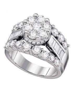 14kt White Gold Womens Round Diamond Cluster Bridal Wedding Engagement Ring 4.00 Cttw