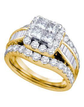 14kt Yellow Gold Womens Princess Diamond Cluster Bridal Wedding Engagement Ring 1.00 Cttw