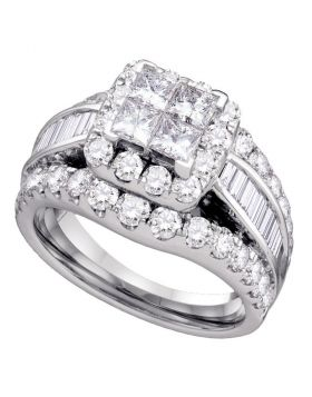 14kt White Gold Womens Princess Diamond Cluster Bridal Wedding Engagement Ring 2.00 Cttw