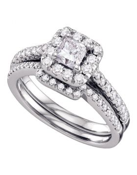 14kt White Gold Womens Princess Diamond Halo Bridal Wedding Engagement Ring Band Set 1.00 Cttw