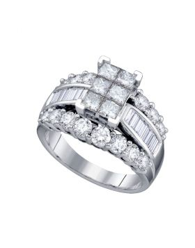 14kt White Gold Womens Princess Diamond Cluster Bridal Wedding Engagement Ring 3.00 Cttw