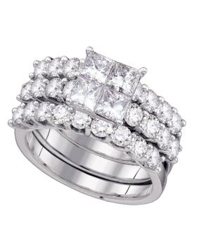 14kt White Gold Womens Princess Diamond 3-Piece Bridal Wedding Engagement Ring Band Set 4.00 Cttw