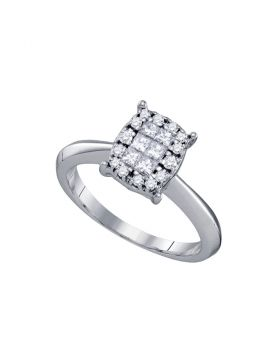 14kt White Gold Womens Princess Round Diamond Soleil Cluster Bridal Wedding Engagement Ring 3/8 Cttw