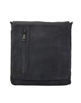 Igor Messenger Flap leather bag - Black