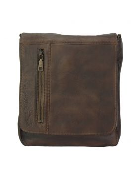 Igor Messenger Flap leather bag - Dark Brown