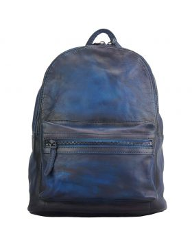 Josh Backpack in vintage calfskin - Blue