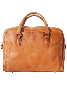 Unisex briefcase in genuine calf natural vintage leather - Tan