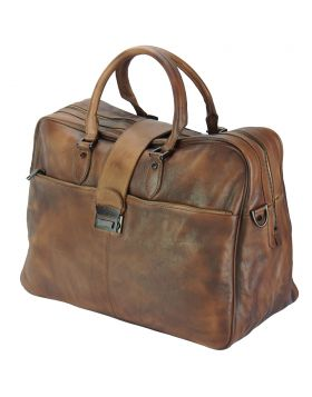 Travel bag Raimondo in vintage leather - Brown