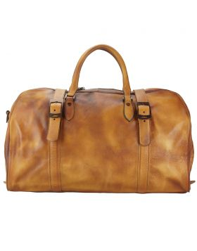 Travel bag Serafino in vintage leather - Tan