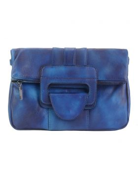 Multipurpose Clutch Solaio w/ vintage leather - Blue