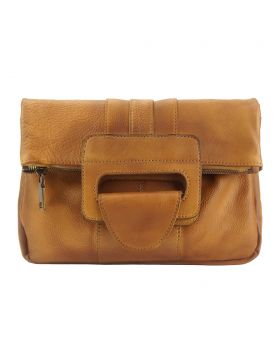 Multipurpose Clutch Solaio w/ vintage leather - Tan