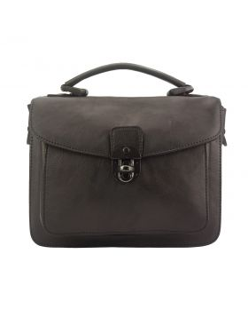 Montaigne Handbag by vintage leather - Dark Brown