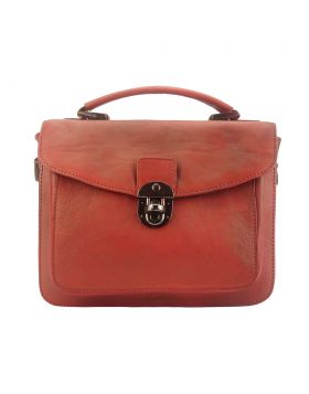 Montaigne Handbag by vintage leather - Red