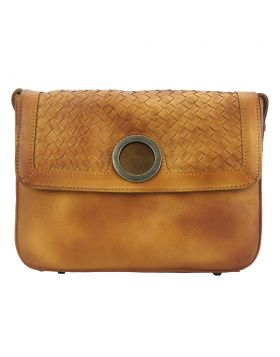 Shoulder flap bag Luna GM by vintage leather -Tan