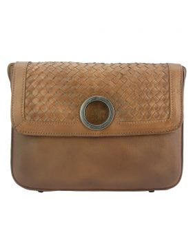 Shoulder flap bag Luna GM by vintage leather - Brown