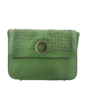 Shoulder flap bag Luna by vintage leather - Green