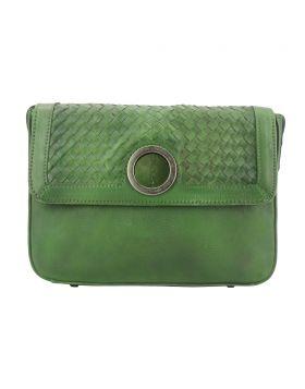 Shoulder flap bag Luna by vintage leather - Green
