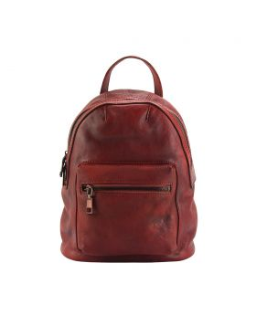 Teresa Leather Backpack - Red