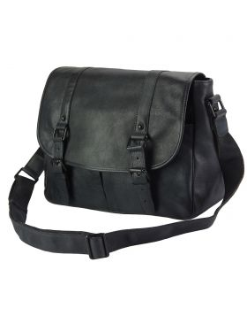 Mattia leather Messenger bag - Black