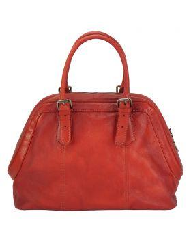 Zaira Leather Handbag - Red