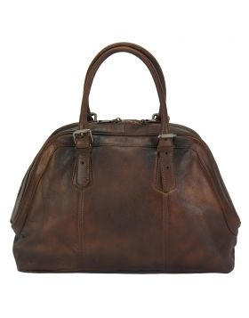 Zaira Leather Handbag - Dark Brown