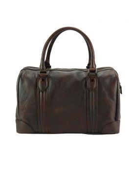 Fulvia Leather Boston Bag - Dark Brown