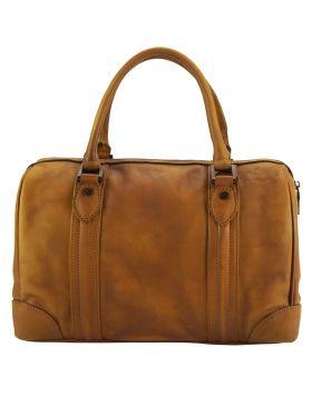 Fulvia GM Leather Boston Bag - Tan