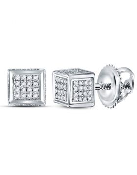 Sterling Silver Unisex Round Diamond 3D Square Cluster Stud Earrings 1/3 Cttw