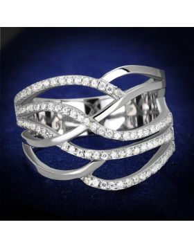 TS357-5 - 925 Sterling Silver Rhodium Ring AAA Grade CZ Clear