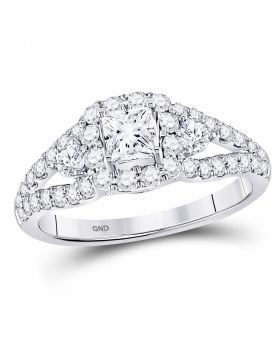 14kt White Gold Womens Princess Diamond Solitaire Halo Bridal Wedding Engagement Ring 1-1/3