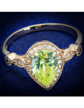 TS538-5 - 925 Sterling Silver Rose Gold Ring AAA Grade CZ Apple Green color